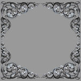 Ornament elements frame, vintage  silver floral. Designs Stock Photography