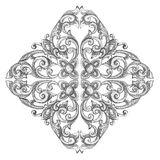 Ornament elements frame, vintage silver floral designs.  Stock Photography