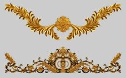 Ornament elements, vintage gold floral stock images