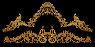 Ornament elements, vintage gold floral designs. Ornament elements, vintage gold floral Stock Photos
