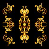 Ornament elements, vintage gold floral designs.  stock image