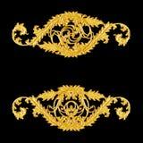 Ornament elements, vintage gold floral designs Stock Images