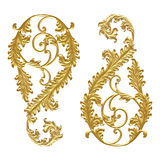 Ornament elements, vintage gold floral designs on white background or texture.  stock photo