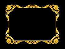 Ornament elements, vintage gold frame floral designs. Isolated Stock Image