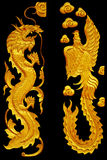 Ornament elements, vintage Golden Dragonl and swan designs Stock Photography