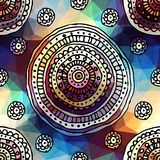 Ornament of ethnic circles on geometric background Royalty Free Stock Photo
