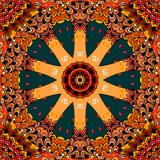 Ornament in ethnic style with large wheel on decorative background. Seamless pattern in vector. Print for fabric, ceramic tile stock illustration