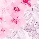 Ornament with exotic leaves flowers abstract background. Fabric texture Wallpaper Royalty Free Illustration