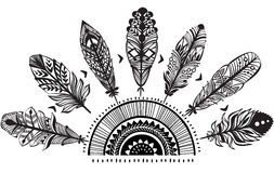 Ornament with feathers. In black and white stock illustration