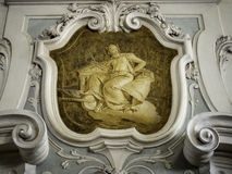 The ornament of a fireplace hood in a neo classical villa Stock Photo