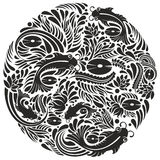 Ornament fish. Black and white fish and floral pattern design Royalty Free Stock Image
