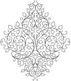 Ornament floral black and white vector. Black and white ornament template for couple of wedding floral decoration Stock Image