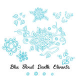 Ornament flower doodle blue elements on white. Hand drawn illustration great as a textile or baby cloth, fabric design for boys or girls Royalty Free Stock Images