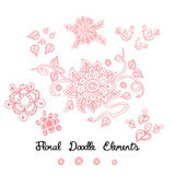 Ornament flower doodle pink elements on white. Hand drawn vector illustration great as a textile or baby cloth, fabric design for girls, card decoration Stock Images