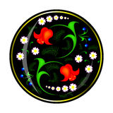 Ornament of flowers in black circle. On metal or wooden surface drawn pattern of different flowers Royalty Free Stock Image