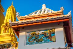 Ornament, a fragment of decoration,the buddhist temple, Vietnam.Bangkok. Stock Images