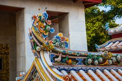Ornament, a fragment of decoration,the buddhist temple, Vietnam.Bangkok. Royalty Free Stock Photography