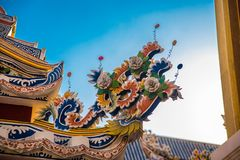 Ornament, a fragment of decoration,the buddhist temple, Vietnam.Bangkok. Stock Photo