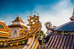 Ornament, a fragment of decoration,the buddhist temple, Vietnam.Bangkok. Royalty Free Stock Photo