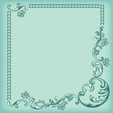 Ornament frame, decorative pattern on turquoise background Stock Image