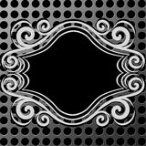 Ornament frame on metal texture made with circles Royalty Free Stock Photography