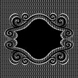 Ornament frame on net metal  texture Royalty Free Stock Photo