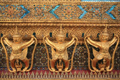 Ornament: garuda decorations on the wall. At Wat Phra Kaew, Thailand Stock Images