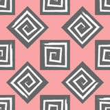 Ornament of geometric shapes and square spirals drawn by a brush. Seamless pattern. Stock Photo