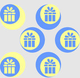 The ornament of gifts. The pattern on a gray background.  Stock Image