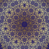 Ornament gold card with mandala. Circle lace ornament, round ornamental geometric doily pattern, gold  and blue Royalty Free Stock Image