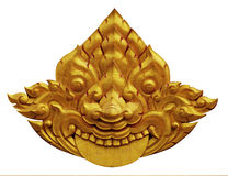 Ornament of gold plated vintage floral. Thai art Style Stock Image