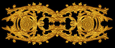 Ornament of gold plated vintage floral. Victorian Style Royalty Free Stock Image