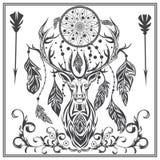 Ornament graphics deer feathers, arrows, Dreamcatcher Stock Image