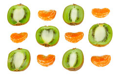 Ornament of the halves of kiwi and tangerine slice Royalty Free Stock Photography