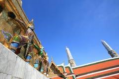 Ornament: hanumans adhere on gold pagoda. At Wat Phra Kaew, Thailand Royalty Free Stock Images