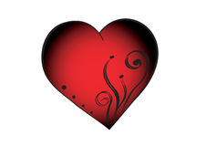 Ornament in heart. Red isolated heart with four dost and ornament Royalty Free Stock Image