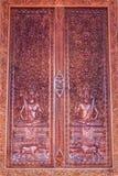 Ornament houten venster van Thaise tempel in Wat Sri Don Moon, Chia Stock Foto