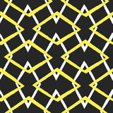 Ornament of intertwined rhombuses. Painted with a rough brush. Seamless pattern. Royalty Free Stock Photos