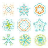Ornament line art design colorful set Stock Photo