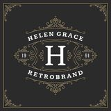 Ornament logo design template vector flourishes calligraphic vintage frame. Good for Luxury Crest, boutique brand, wedding shop, hotel sign vector illustration