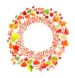 Ornament made of drawn autumn leaves Stock Images
