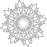 Ornament Mandala, drawing with coloring lines, on white backgrou Stock Images