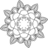 Ornament Mandala, drawing with coloring lines, on white backgrou Stock Image