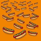 Ornament with many hotdogs. Ornament with many tasty hotdogs Royalty Free Stock Image