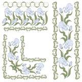 Ornament met irissen. horizontaal, verticaal, hoek Stock Fotografie