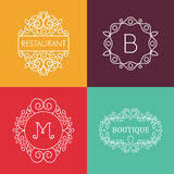 Ornament monogram mono line floral frame set Royalty Free Stock Photos