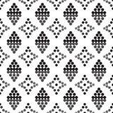 Ornament naadloze zwarte cirkels en grijs en diamanten grijs palet Stock Foto