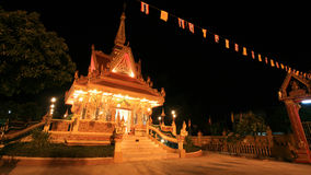 Ornament: night landscape of bright buddhist shrin Royalty Free Stock Photo