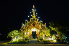 Ornament: night landscape of bright buddhist shrine inChiangsaen Royalty Free Stock Photos