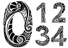 Ornament numbers 0-4. Vector numbers no. zero till four Stock Image